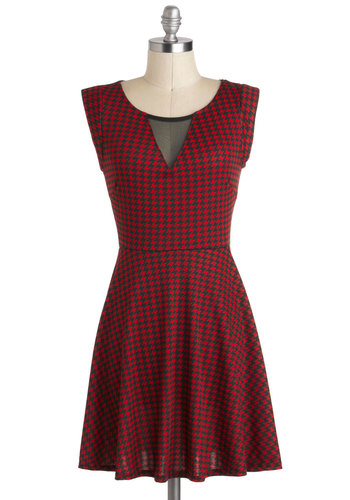Rock Band Reunion Dress - Black, Houndstooth, Short, Cutout, A-line, Sleeveless, Red, Party, Winter, Girls Night Out, 90s