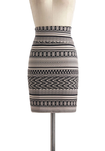 Slopeside Bash Skirt - Jersey, Cotton, Mid-length, Multi, Tan / Cream, Black, Print, Casual