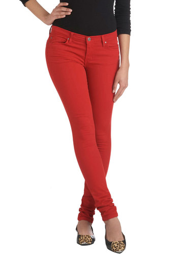 Radishing Beauty Jeans - Cotton, Denim, Red, Solid, Casual, Skinny
