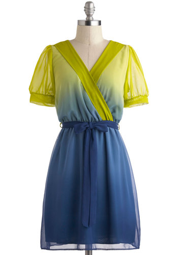 Resplendent Darling Dress - Blue, Casual, A-line, V Neck, Short, Belted, Short Sleeves, Green, Ombre
