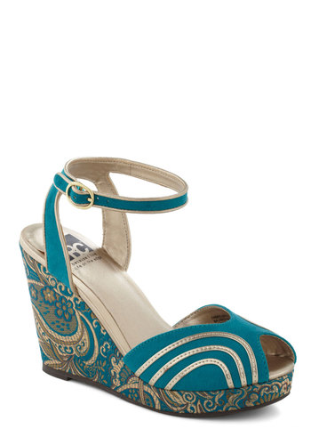 Paisley the Town Wedge by BC Footwear - Wedge, Blue, Gold, High, Vintage Inspired, 70s