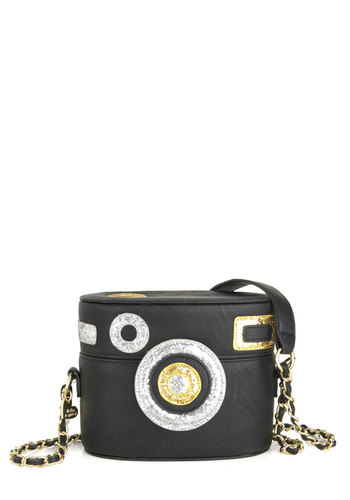 Betsey Johnson Shutterbug Bag by Betsey Johnson - Faux Leather, Black, Glitter, Party, Girls Night Out, Holiday Party, Luxe, Quirky, Silver, Gold, Special Occasion