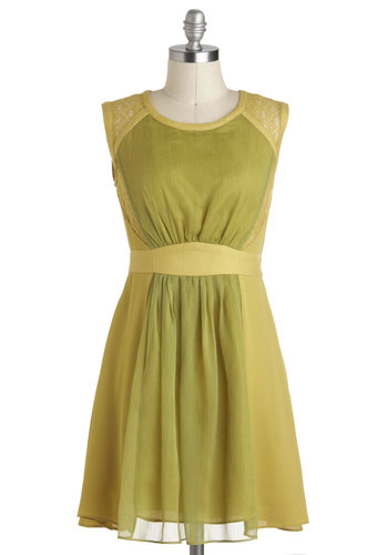 Lime of Your Life Dress - Chiffon, Short, Green, Solid, Lace, Party, A-line, Sleeveless, Pockets, Holiday Party, Summer