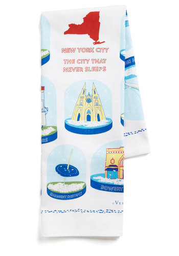 Flurry Back Tea Towel in NYC - Multi, Vintage Inspired