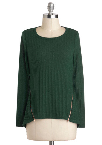 Askews Me, Miss? Sweater - Mid-length, Green, Solid, Casual, Long Sleeve, Exposed zipper, Urban