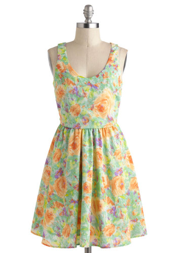First Impressionist Dress - Floral, Casual, A-line, Tank top (2 thick straps), Mid-length, Cutout, Pastel, Spring, Multi, Scoop, Summer