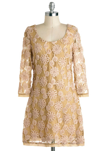 Flowers in Her Flair Dress by Nick & Mo - Gold, Floral, Trim, Vintage Inspired, 60s, Shift, Long Sleeve, Short, Pink, Lace, Daytime Party