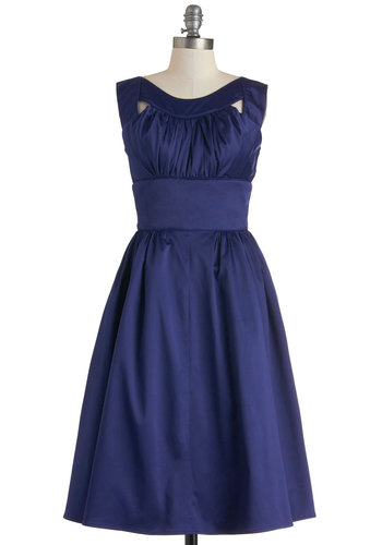 Every Which Sway Dress - Satin, Long, Blue, Solid, Cutout, Ruching, Wedding, Cocktail, Vintage Inspired, A-line, Sleeveless, Film Noir, 50s, Luxe, Formal, Fit & Flare, Prom, Bridesmaid