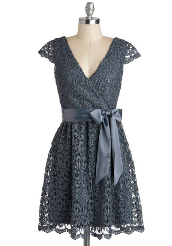 Made of Dreams Dress - Mid-length, Grey, Solid, Lace, Belted, Party, A-line, Cap Sleeves, V Neck, Silver, Holiday Party, Film Noir, Luxe