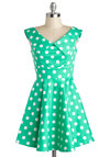 You Mint Business Dress - Mint, White, Polka Dots, Casual, A-line, V Neck, Cotton, Vintage Inspired, Bows, Sleeveless, Collared, Summer, Short