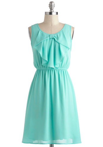 Every Now and Femme Dress - Mint, Solid, Bows, Daytime Party, Pastel, A-line, Sleeveless, Spring, Mid-length, Casual, Graduation, Summer