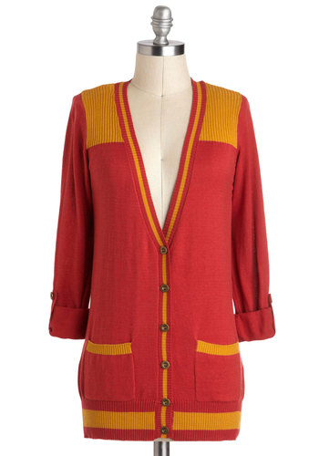 Write-a-Thon Cardigan - Mid-length, Red, Yellow, Solid, Buttons, Pockets, Casual, Scholastic/Collegiate, Long Sleeve, Menswear Inspired, Vintage Inspired