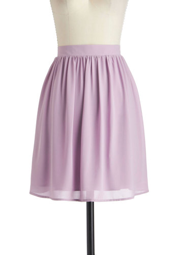 Lavender Shortbread Skirt - Purple, Solid, Work, High-Low Hem, Mid-length, Casual, Pastel, Minimal