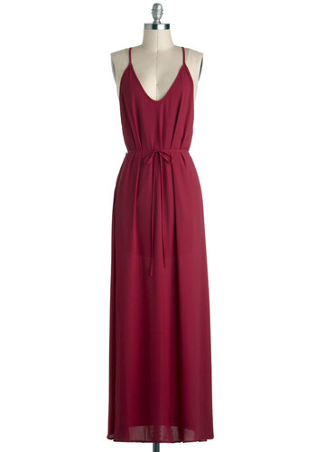 So Long Dress - Solid, Backless, Casual, Maxi, Spaghetti Straps, V Neck, Long, Belted, Red