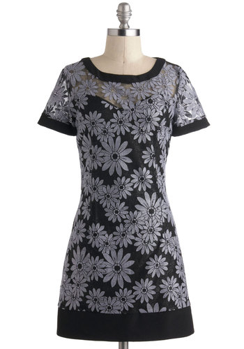 Light Up the Bloom Dress - Grey, Floral, Shift, Short Sleeves, Short, Black, Party