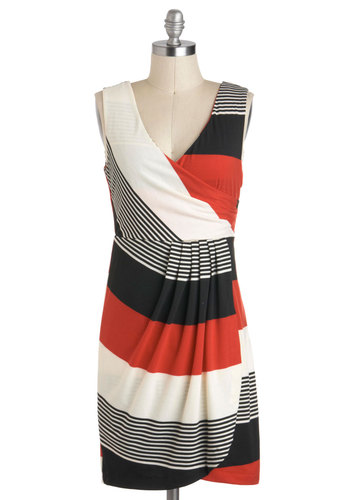 Destination Elation Dress - Multi, Stripes, Casual, Tank top (2 thick straps), V Neck, Mid-length, Red, Black, White, Shift, Pleats, Travel