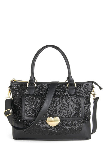 Betsey Johnson Sequins in the Rain Bag by Betsey Johnson - Faux Leather, Black, Sequins, Holiday Party, Luxe