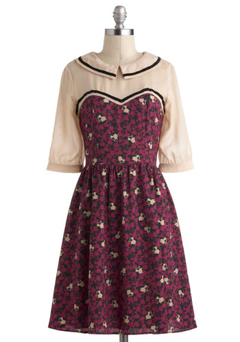 Room With a Mew Dress - Purple, Tan / Cream, Print with Animals, Peter Pan Collar, Casual, A-line, 3/4 Sleeve, Collared, Sheer, Mid-length, Black
