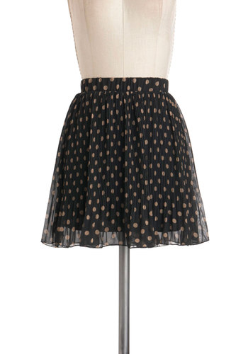Pleats is the Word Skirt - Black, Tan / Cream, Polka Dots, A-line, Short