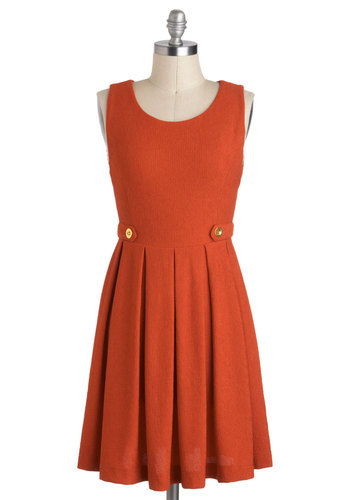 Show You Carrot Dress - Solid, A-line, Tank top (2 thick straps), Buttons, Short, Orange, Pleats, Work