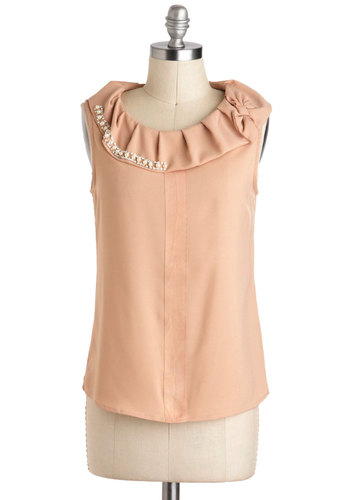 Work of Art Top - Pink, Solid, Bows, Pearls, Pleats, Rhinestones, Work, Sleeveless, Mid-length, Party