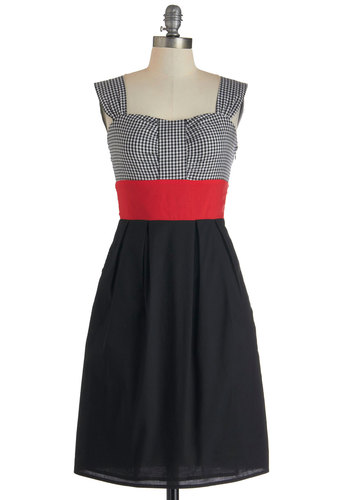 The New Pin-Up Dress - Black, Red, White, Checkered / Gingham, Casual, A-line, Tank top (2 thick straps), Sweetheart, Pockets, Cotton, Long, Pleats, Exclusives, Pinup