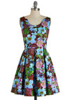 Dreaming in Color Dress by Louche - International Designer, Multi, Floral, Exposed zipper, Pleats, Daytime Party, A-line, Sleeveless, Cotton, Mid-length, Statement