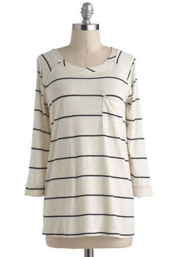 Away Game Top - Cream, Blue, Stripes, Casual, Long Sleeve, Mid-length