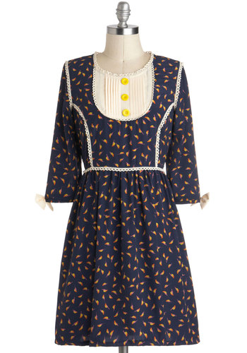 Skies Wide Open Dress by Knitted Dove - Mid-length, Blue, Orange, Yellow, White, Print with Animals, Buttons, Trim, Casual, A-line, 3/4 Sleeve