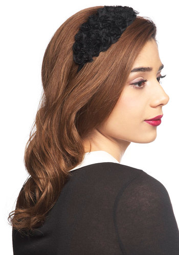Here Noir There Headband - Black, Solid, Flower, Film Noir, Vintage Inspired, 50s
