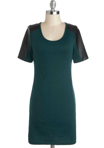 I Am the Band Dress - Short, Green, Black, Solid, Party, Short Sleeves, Girls Night Out, Urban, Scoop