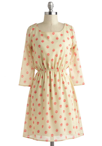 Into the Woodsy Dress - Sheer, Mid-length, Cream, Red, Print with Animals, Cutout, Casual, A-line, Long Sleeve, Owls, Summer