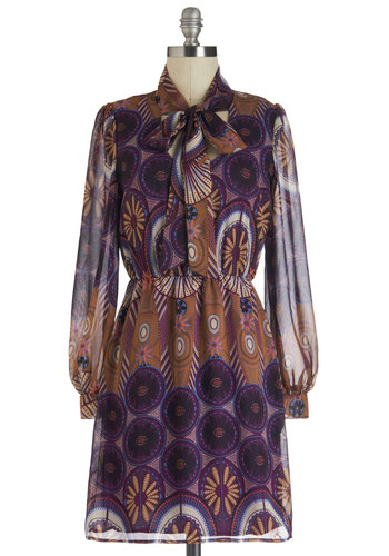 Retro Lounge Dress - Purple, Multi, Floral, Tie Neck, Casual, A-line, Long Sleeve, Sheer, Mid-length, Brown, 70s, Work