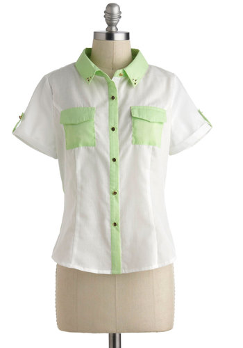 Tropical Troop Top - Short, White, Green, Buttons, Epaulets, Pockets, Casual, Short Sleeves, Collared, Pastel, Green, Short Sleeve