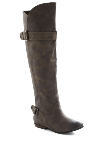 You've Got It Promenade Boot - Grey, Solid, Buckles, Flat, Faux Leather
