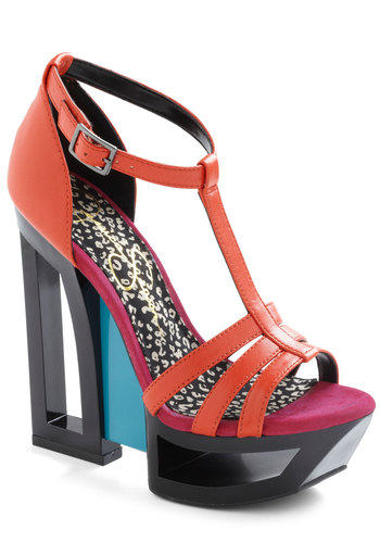 One in the Frame Heel - Red, Blue, Black, Cutout, Statement, High, Platform, Leather, Colorblocking