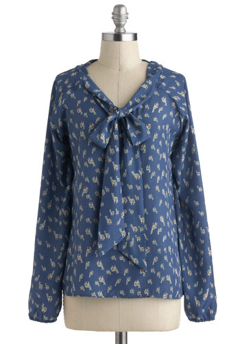 What a Genus Top - Blue, Tan / Cream, Long Sleeve, Tie Neck, Mid-length, Print with Animals, Work