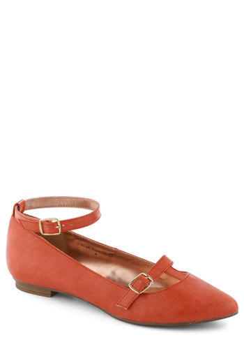 Flawless Frolic Flat in Red - Red, Solid, Buckles, Flat, Casual, Vintage Inspired