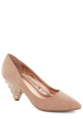 You Look Sharp Heel - Pink, Solid, Studs, Mid, Party, Girls Night Out, Urban