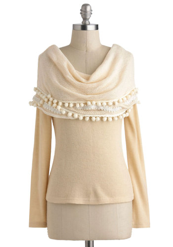 Your Favorite Things Sweater by Ryu - Mid-length, Cream, Solid, Poms, Long Sleeve, Casual, Winter