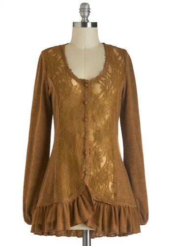 An Americano in Paris Cardigan - Solid, Buttons, Lace, Ruffles, Long Sleeve, Brown, Casual, Scoop