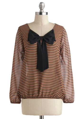 Bow Me Love Top - Brown, Stripes, Bows, Long Sleeve, Sheer, Mid-length, Black, Work