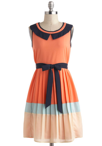 Fun in the Sunset Dress - Mid-length, Orange, Blue, White, Pleats, Belted, Work, Casual, A-line, Sleeveless, Colorblocking, Collared, Vintage Inspired, 30s, Coral, Summer
