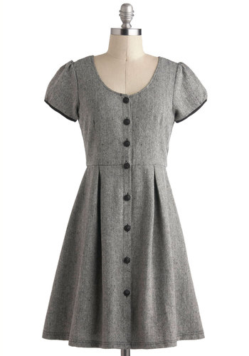 Tell Me a Tailored Dress - Grey, Herringbone, Buttons, Pleats, Work, A-line, Short Sleeves, Fall, Mid-length, Button Down, Vintage Inspired, Scholastic/Collegiate