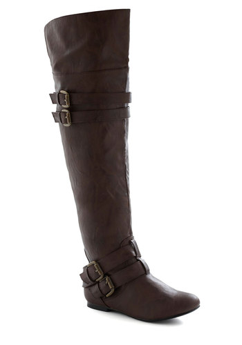 Stride to Be Boot - Brown, Solid, Buckles, Boho, Flat