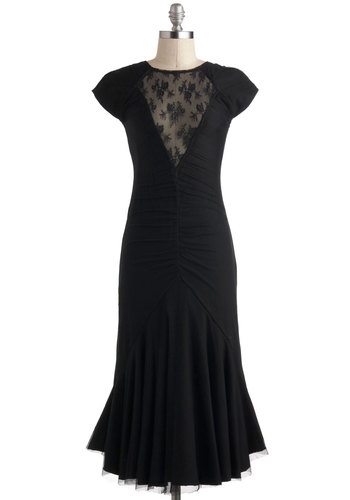 Mermaid to Measure Dress - Black, Solid, Cutout, Lace, Ruching, Cocktail, Sheath / Shift, Short Sleeves, Winter, Long, Vintage Inspired, Statement, French / Victorian, Film Noir, Crew