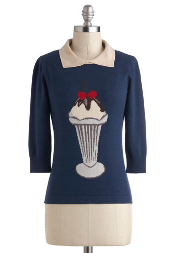 Sundae Dressed Sweater by Sugarhill Boutique - International Designer, Blue, Red, Brown, Tan / Cream, Grey, Kawaii, Long Sleeve, Collared, Novelty Print, Casual, Vintage Inspired, 50s, Mid-length, Pinup