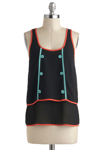 Bright About Now Top - Black, Orange, Blue, Solid, Buttons, Neon, Sleeveless, Sheer, Mid-length, Casual, Mod, Scoop, Summer