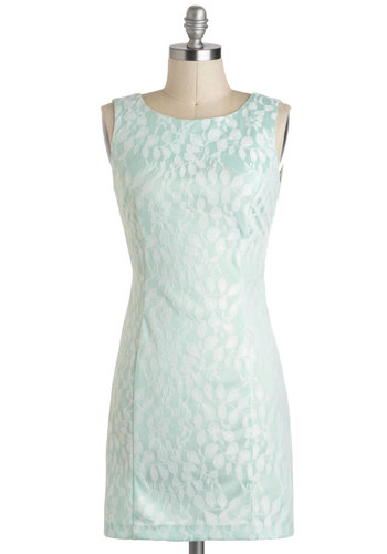 Sage Tea Dress - Mint, Print, Bows, Cutout, Daytime Party, Sleeveless, Sheer, Short, Sheath / Shift, Pastel, Scoop