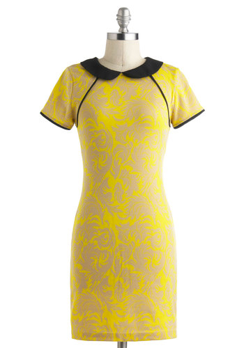 Taryn's Dress of the Decades - Short, Yellow, Tan / Cream, Black, Print, Cutout, Peter Pan Collar, Casual, Short Sleeves, Collared, 60s, 70s, Mod